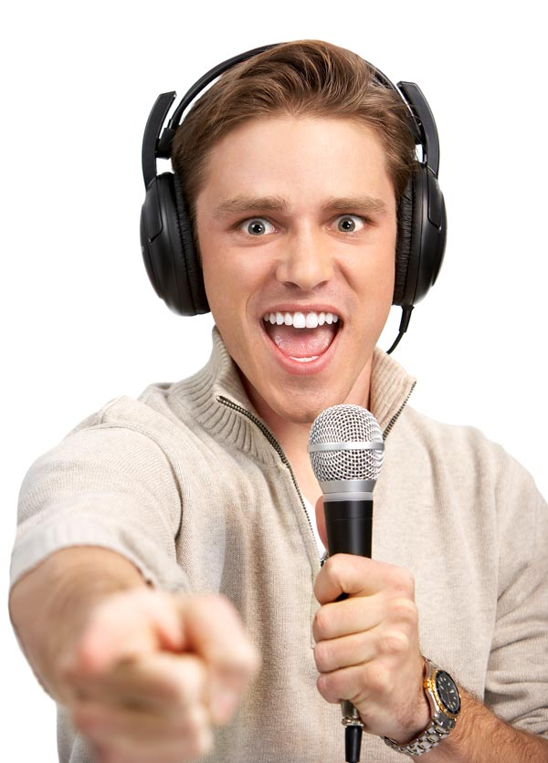 Singer with microphone