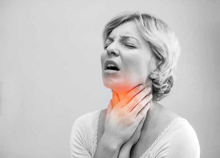 Women with voice fatigue and sore throat
